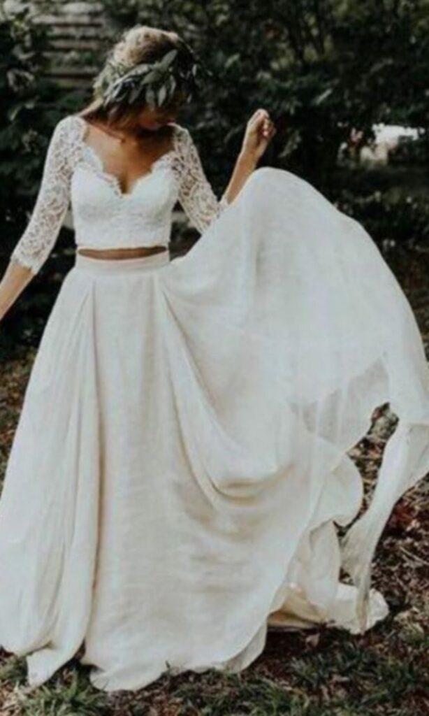 dwuczęściowa kreacja ślubna