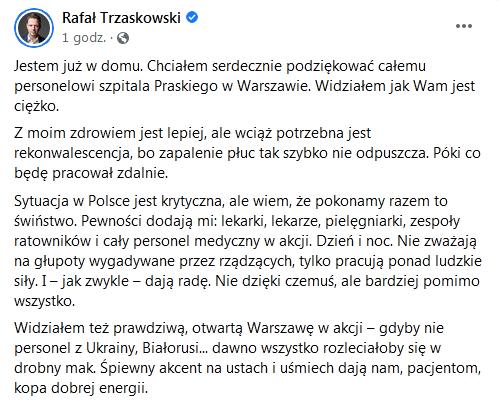 Rafał Trzaskowski opuścił szpital