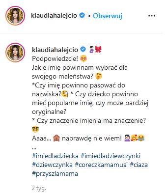 Klaudia Halejcio zdradziła imię córki
