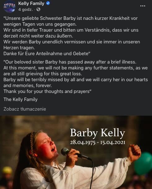 Nie żyje Barby Kelly
