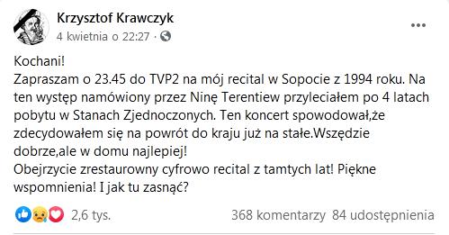Ostatni post Krzysztofa Krawczyka