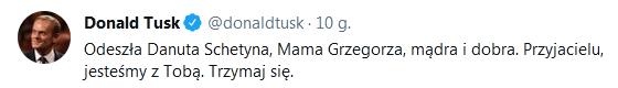 Zmarła mama Grzegorza Schetyny