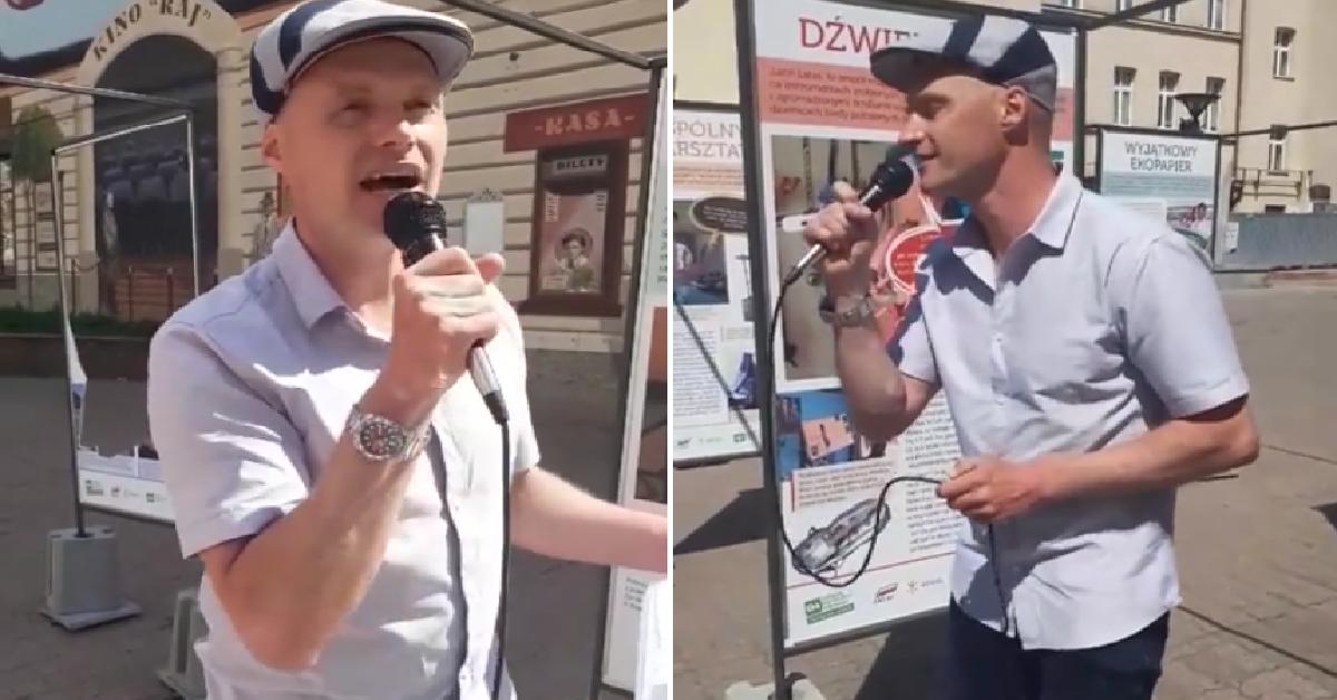Syn Krzysztofa Krawczyka śpiewa na ulicy