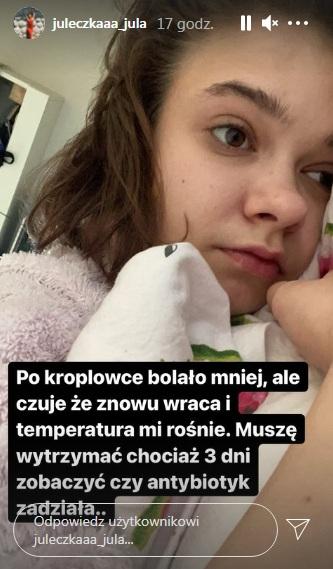 Julia Wróblewska w szpitalu