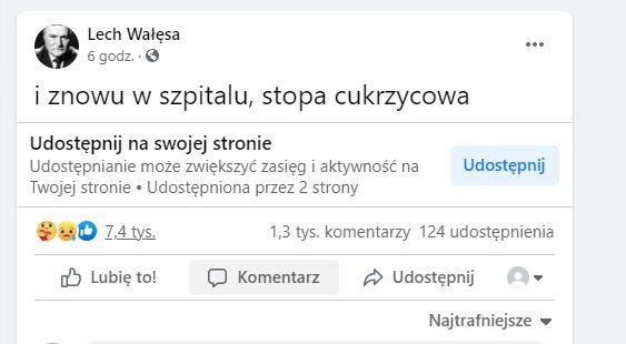Lech Wałęsa jest w szpitalu
