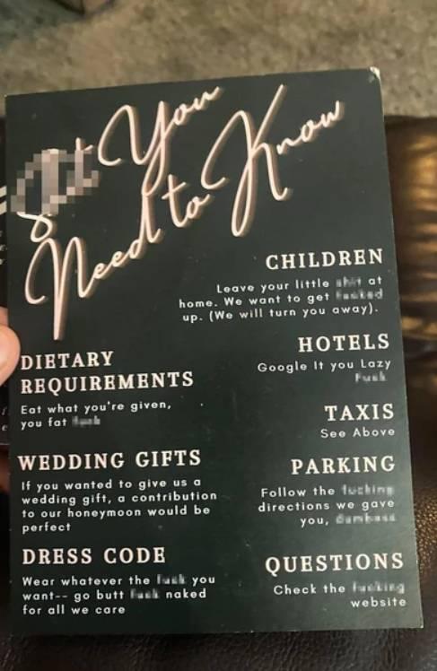 Wulgarne zaproszenie na ślub