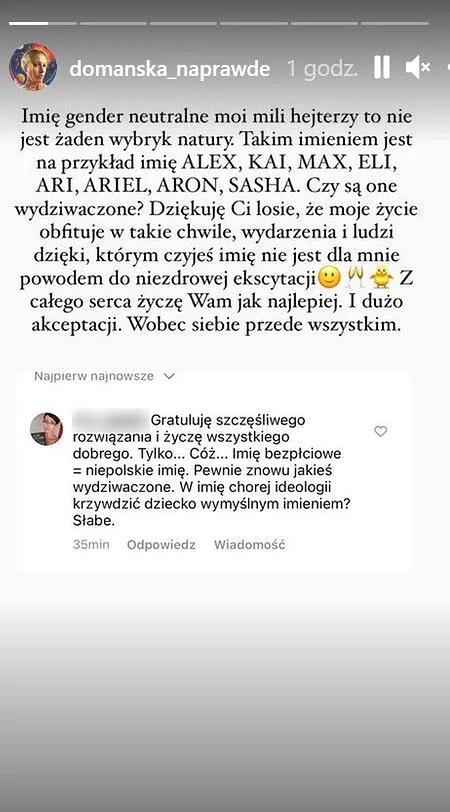 Aleksandra Domańska wylicza imiona neutralne płciowo